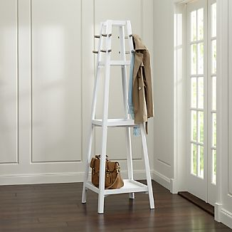 Truro White Wood Standing Coat Rack