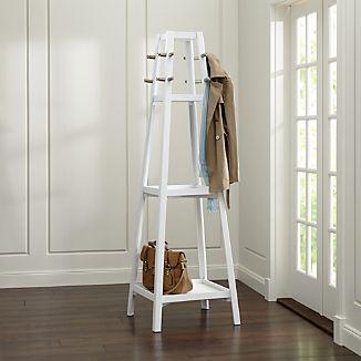 Truro White Wood Standing Coat Rack