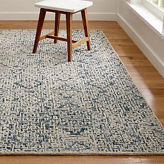 Trystan Indigo Blue Wool-Blend Rug