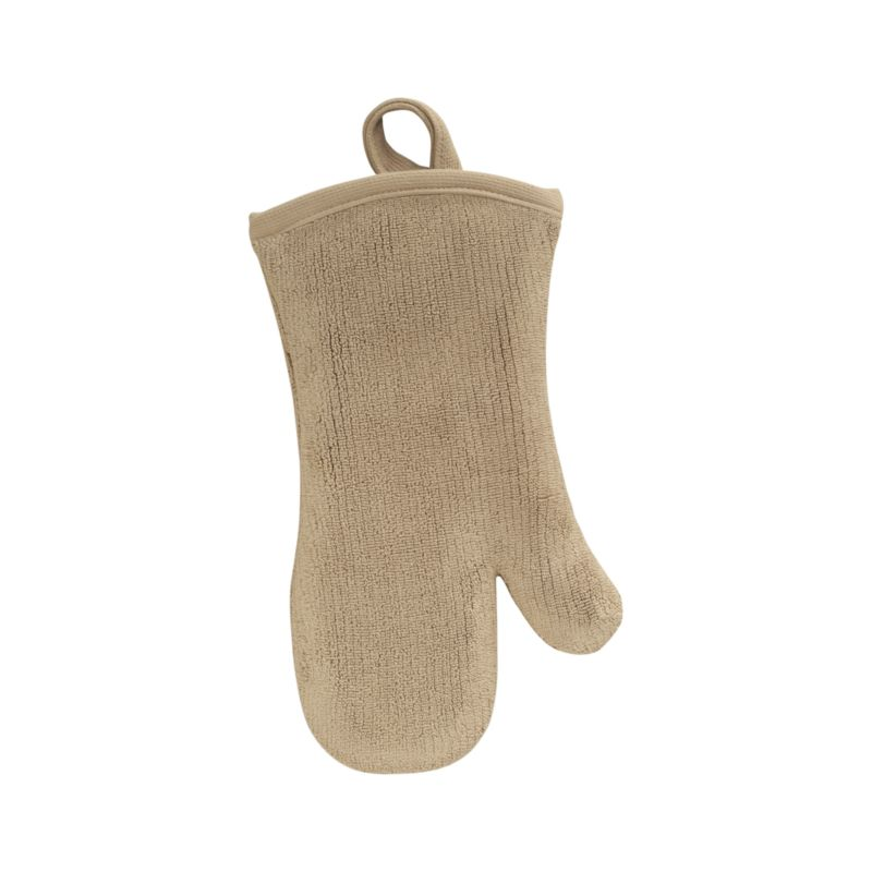 Refined kitchen essential in sophisticated taupe is woven of combed cotton with luxe terry pile. Mitt is finished with convenient hanging loop.<br /><br /><NEWTAG/><ul><li>100% dobby woven cotton</li><li>Reactive dye wash finish</li><li>Machine wash</li></ul>