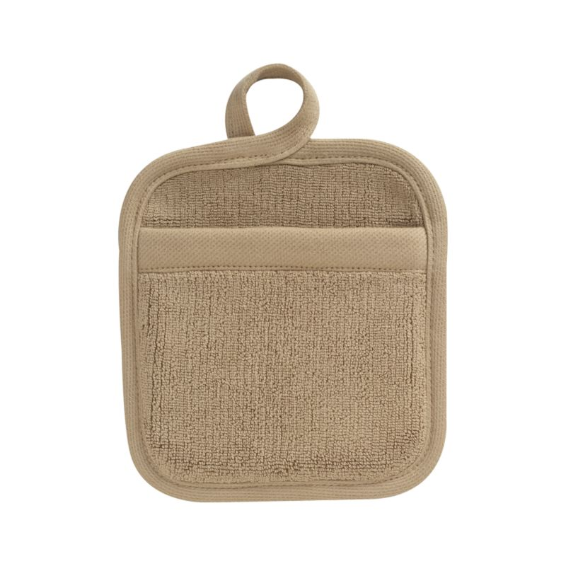 Refined kitchen essential in sophisticated taupe is woven of combed cotton with luxe terry pile. Potholder is finished with convenient hanging loop.<br /><br /><NEWTAG/><ul><li>100% dobby woven cotton</li><li>Reactive dye wash finish</li><li>Machine wash</li></ul>