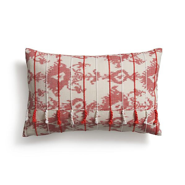 """Tuku Red 20""""x13"""" Pillow with Feather-Down Insert"""