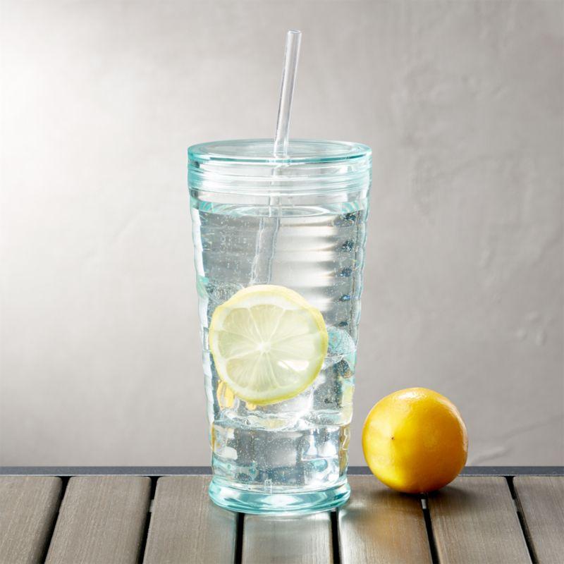 Tumbler with Straw Acrylic Aqua 23 oz