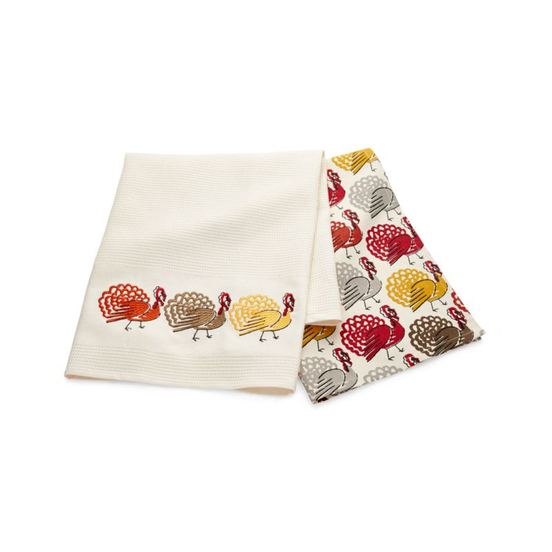 Thanksgiving Turkey Dish Towels Set of Two