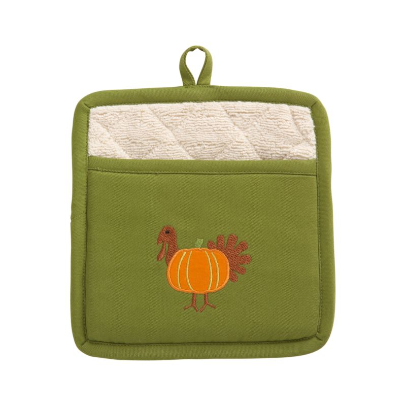 A whimsical celebration of autumn's favorite foods joins a harvest pumpkin and turkey in appliqué and embroidery on cotton. Potholder is lined in plush natural terry.<br /><br /><NEWTAG/><ul><li>100% cotton</li><li>100% polyester embroidery</li><li>Machine wash, tumble dry</li><li>Made in India</li></ul>