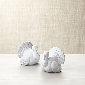 Turkey White Ceramic Salt and Pepper Shakers