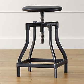 Turner Black Adjustable Backless Counter Stool