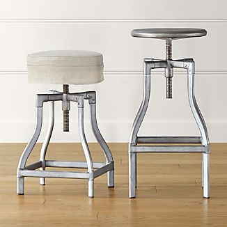 Turner Gunmetal Adjustable Backless Bar Stools and Linen Cushion
