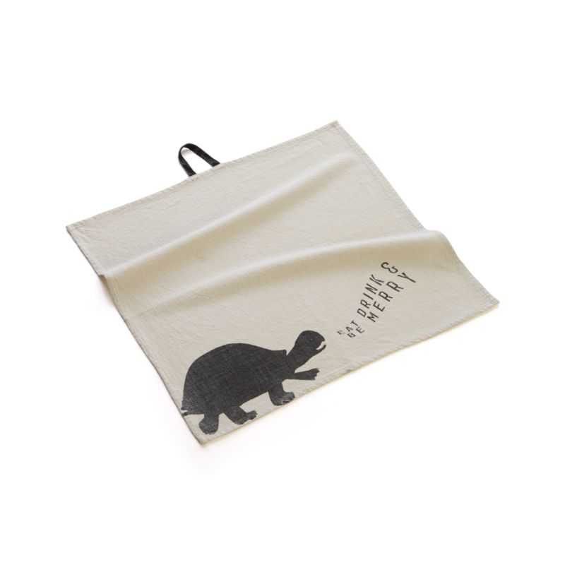 """Soft stone-washed cotton towels with silhouette animals, witty sayings and center hanging loops represent functional art in the form of a bar towel or oversized napkin. Turtle towel says """"Eat drink & be merry.""""<br /><br /><NEWTAG/><ul><li>100% cotton</li><li>Machine wash</li><li>Made in India</li></ul>"""