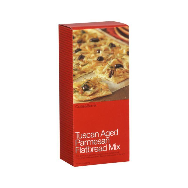 Quick and easy all-natural flatbread mix makes great light meals, snacks and cocktail party fare. Also makes a delicious pizza crust or breadsticks.<br /><br /><NEWTAG/><ul><li>Contains unbleached enriched wheat flour, parmesan cheese, sea salt, sugar and yeast</li><li>Produced in a facility that processes nuts</li><li>Made in USA</li></ul>