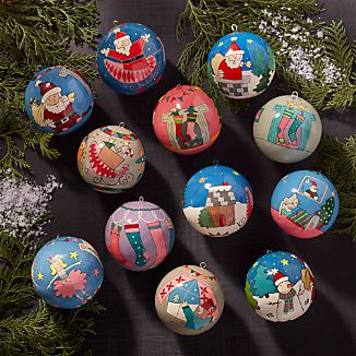 Set of 12 'Twas the Night Before Christmas Ornaments