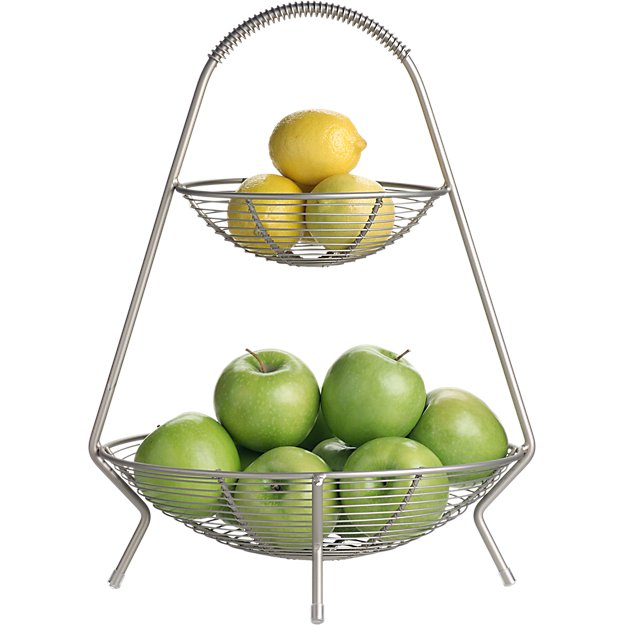 Handled 2-Tier Wire Fruit Basket
