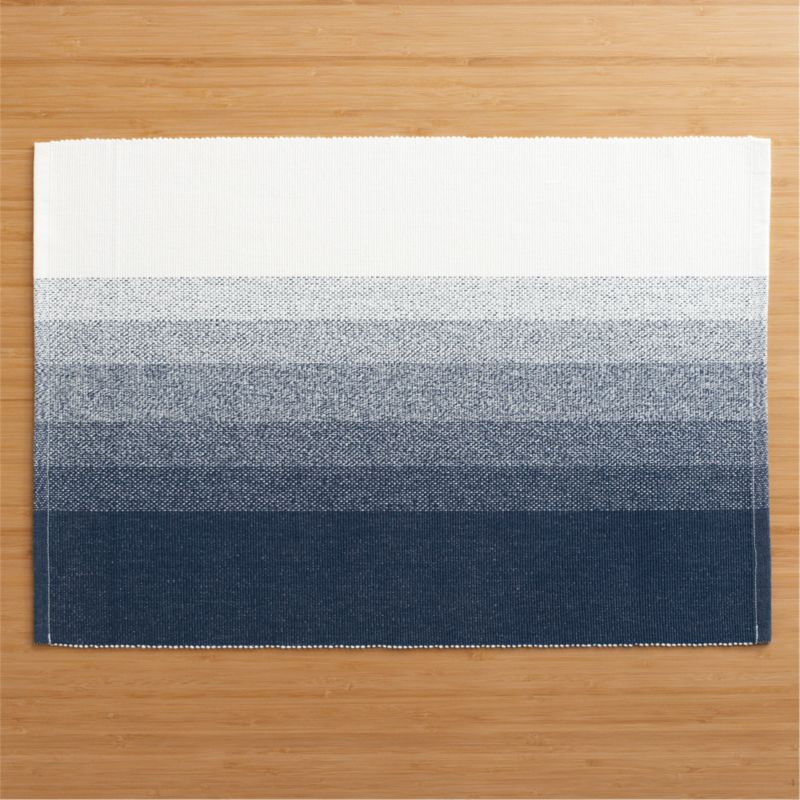 Tie-dye comes of age in a fresh contemporary profile of graduated indigo stripes paling to white.  Woven by hand in a traditional ribbed weave of 100% cotton.<br /><br /><NEWTAG/><ul><li>100% cotton</li><li>Machine wash, reshape and dry flat; warm iron as needed</li><li>Made in India</li></ul>