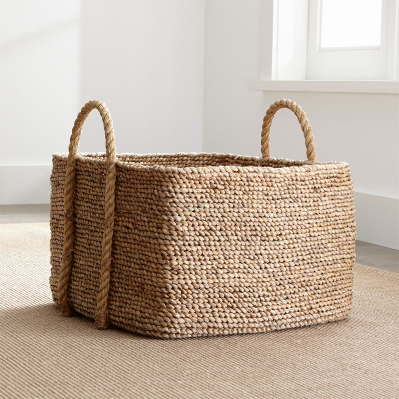 Tyler Square Basket With Rope Handle Crate And Barrel