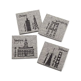 Set of 4 U.S. Cities Felt Coasters