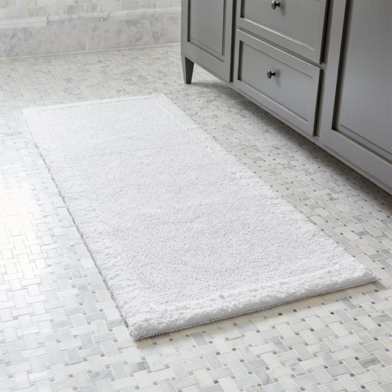 Simple White Reversible 100 Cotton Bath Mat Bathroom Rug Ebay