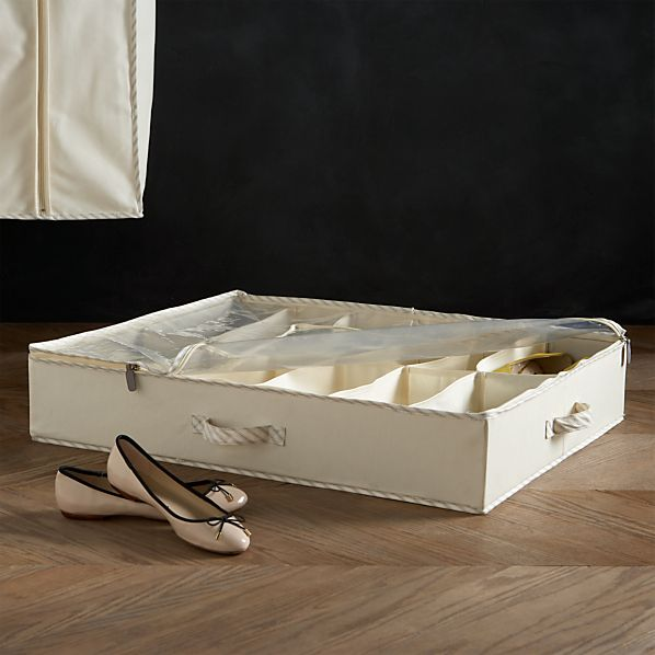 Twill Underbed Divided Storage with Ticking