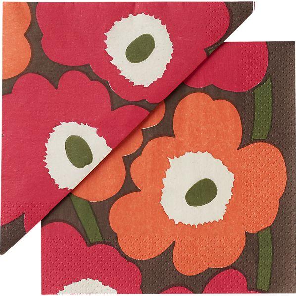 "Set of 20 Marimekko Unikko Brown and Orange and Pink Paper 6.5"" Napkins"
