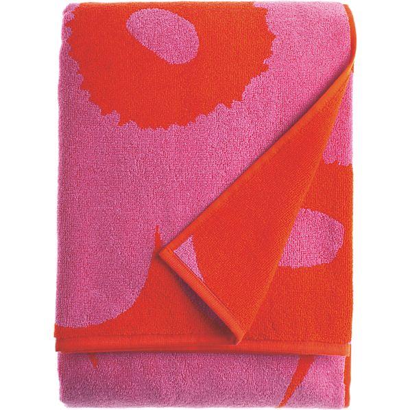 Marimekko Unikko Pink and Red Bath Towel
