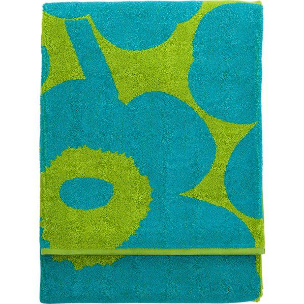 Marimekko Unikko Turquoise and Lime Beach Towel