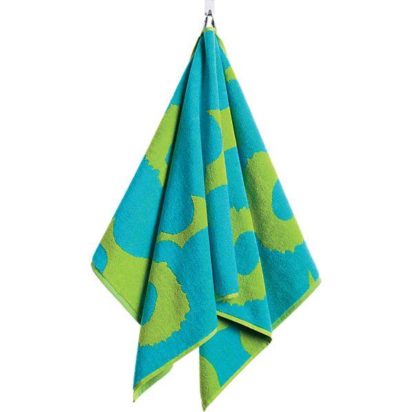Marimekko Unikko Turquoise and Lime Hand Towel