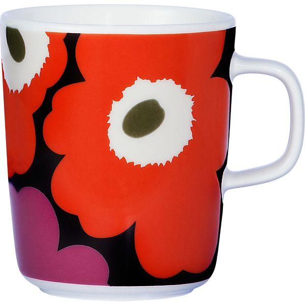 Marimekko Unikko Brown and Orange and Pink Mug