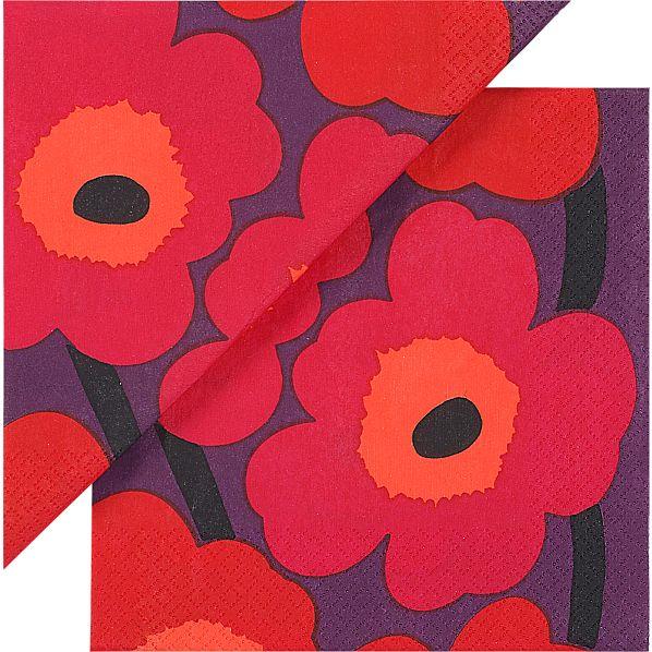 "Set of 20 Marimekko Unikko Pink and Plum Paper 6.5"" Napkins"