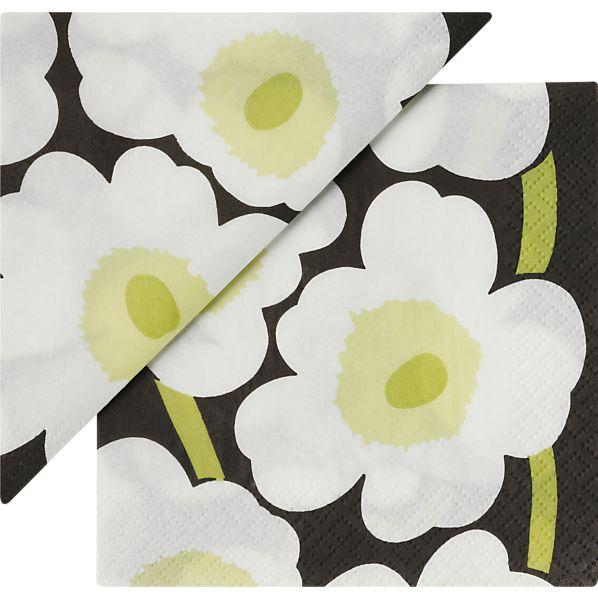 """Set of 20 Marimekko Unikko White Paper 4.75"""" Napkins"""