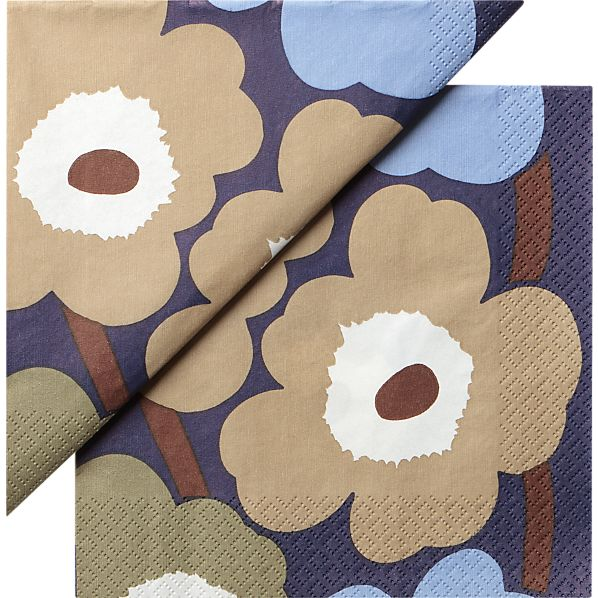 "Set of 20 Marimekko Unikko Dusk Paper 6.5"" Napkins"