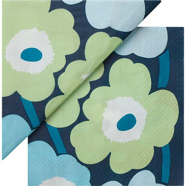 "Set of 20 Marimekko Unikko Turquoise Paper 6.5"" Napkins"