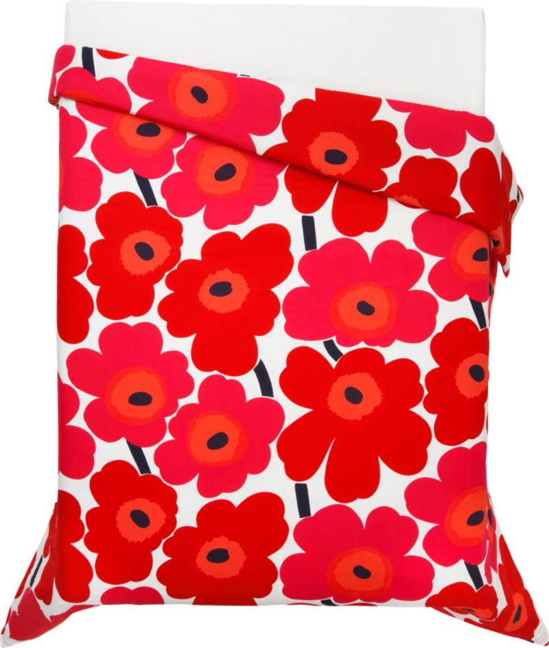 "Designed in 1964 by Maija Isola, the Unikko (""poppy"") design has been the most popular Marimekko print since its introduction. Challenging the common notion of decorative florals, Unikko broke from tradition with its creative pop art interpretation in bold, simplified pattern and bright color. Reproduced in infinite color combinations over its 47-year history, the pattern remains current while symbolizing the free spirit of its designer and those who admire it. Duvet cover reverses to self, with hidden button closure at bottom and interior fabric ties to hold the insert in place. Duvet inserts also available.<br /><br /><NEWTAG/><ul><li>Pattern designed by Maija Isola; 1964</li><li>100% cotton percale</li><li>300-thread-count</li><li>Machine wash cold</li><li>Made in Mexico</li></ul>"