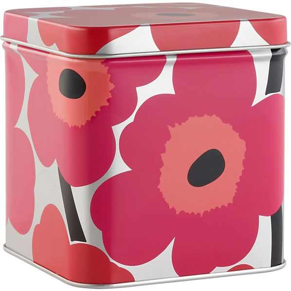 Marimekko Unikko Short Red and Silver Tin Box