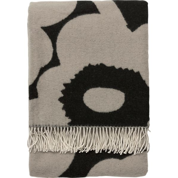 Marimekko Unikko Black and Tan Wool Throw