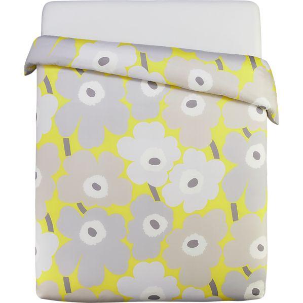 Marimekko Unikko Yellow  Full/Queen Duvet Cover