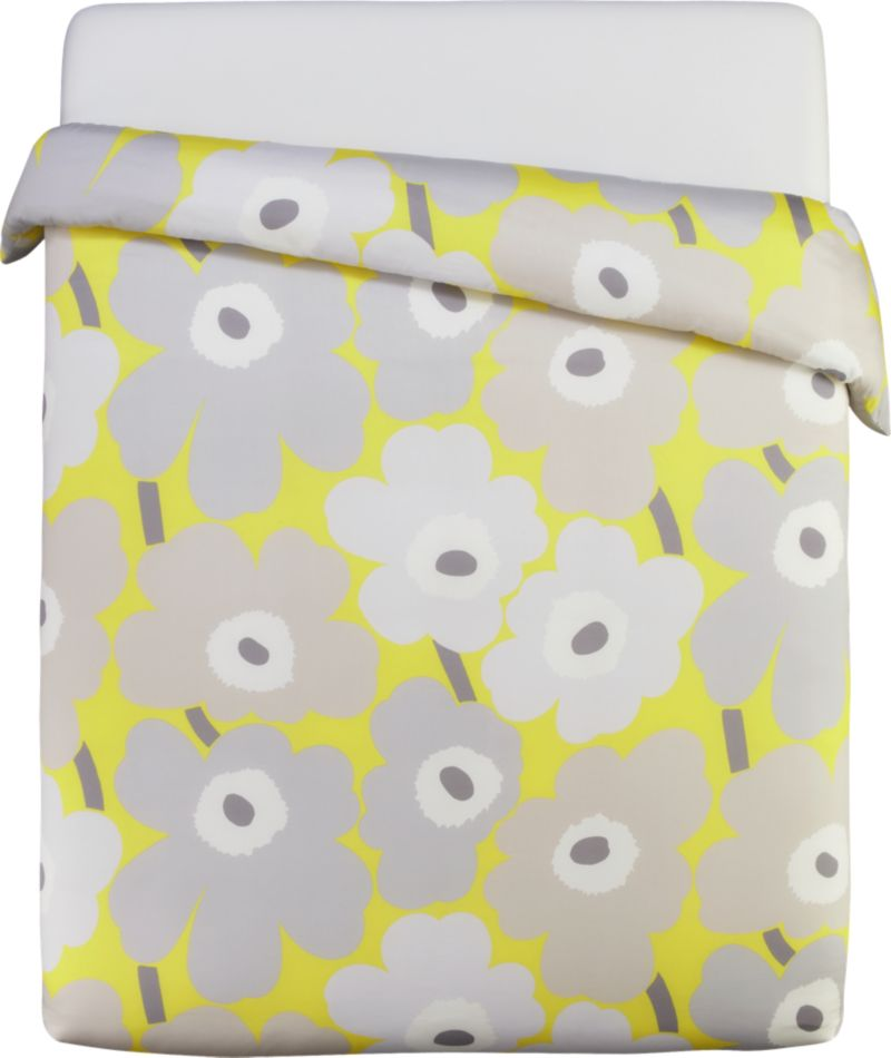 """Designed in 1964 by Maija Isola, the Unikko (""""poppy"""") design has been the most popular Marimekko print since its introduction. Challenging the common notion of decorative florals, Unikko broke from tradition with its creative pop art interpretation in bold, simplified pattern and bright color. Reproduced in infinite color combinations over its 47-year history, the pattern remains current while symbolizing the free spirit of its designer and those who admire it.<br /><br /><NEWTAG/><ul><li>Pattern designed by Maija Isola; 1964</li><li>100% cotton sateen</li><li>300-thread-count</li><li>Machine wash cold</li><li>Made in Pakistan</li></ul>"""
