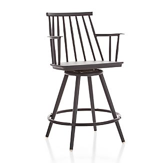 "Union Charcoal 24"" Swivel Counter Stool"