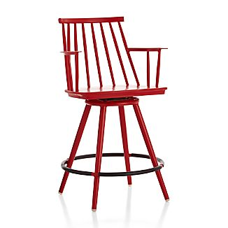 "Union Red 24"" Swivel Counter Stool"