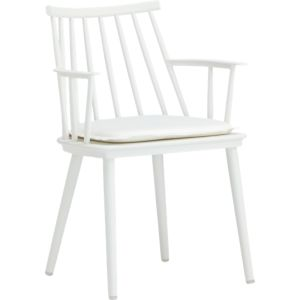 Union White Dining Arm Chair with Sunbrella® White Sand Cushion