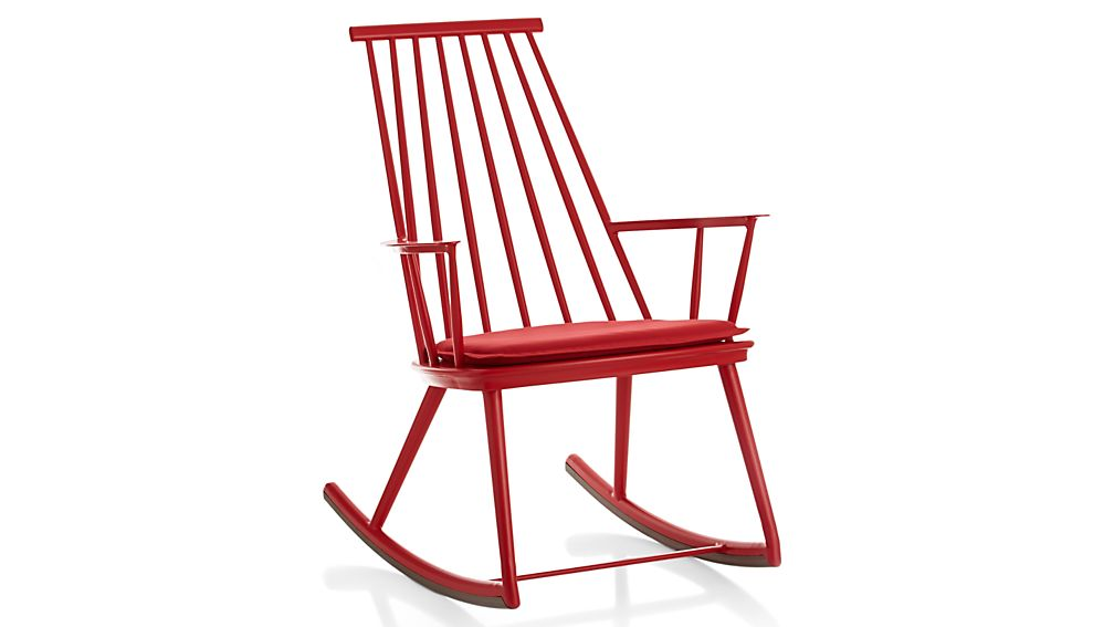 Union Red Rocking Chair with Sunbrella Cushion Ribbon Red