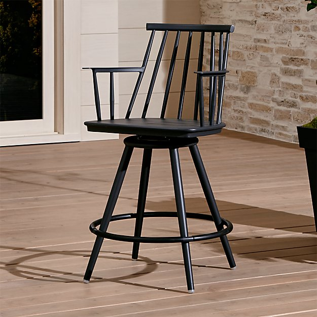 Union Charcoal 24 Quot Swivel Counter Stool Crate And Barrel