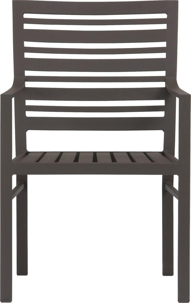 Transitional seating for easy outdoor dining. Comfortable companion chair features a stylish design in durable yet lightweight extruded aluminum. Slatted back relaxes at a modern angle, inviting leisurely dining and conversation. Smooth, rustproof bronze powdercoat finish stands up to the elements. Valencia lounge collection also available.<br /><br /><NEWTAG/><ul><li>Designed by Blake Tovin</li><li>Rustproof extruded aluminum</li><li>Bronze powdercoat finish</li><li>Made in Vietnam</li></ul>