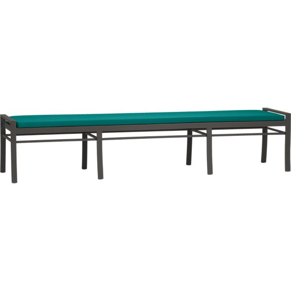 Valencia Large Dining Bench with Sunbrella ® Harbor Blue Cushion