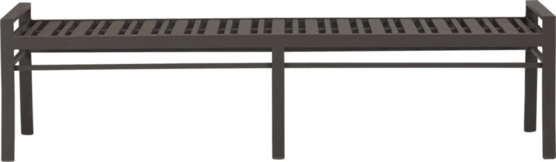 Transitional seating for easy outdoor dining. Bench seats three on a stylish slatted design in durable yet lightweight extruded aluminum. Smooth, rustproof bronze powdercoat stands up to the elements. Valencia lounge collection also available.<br /><ul><li>Rustproof extruded aluminum</li><li>Bronze powdercoat finish</li><li>Seats three</li></ul><NEWTAG/>