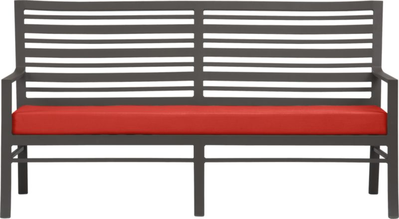 Welcome entertaining with a park bench-style sofa. Varied-size back slat design is crafted of durable, lightweight extruded aluminum. Smooth, rustproof bronze powdercoat finish stands up to the elements. Sofa cushion is covered in fade- and mildew-resistant Sunbrella acrylic in caliente. Fabric tab fasteners hold cushion in place. Valencia dining collection also available.<br /><ul><li>Rustproof extruded aluminum</li><li>Bronze powdercoat finish</li><li>Cushion cover is fade- and mildew-resistant Sunbrella acrylic</li><li>Polyfoam insert</li><li>Spot clean cushion cover</li></ul><NEWTAG/>