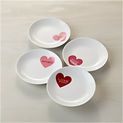 Set of 4 Valentine Heart Plates