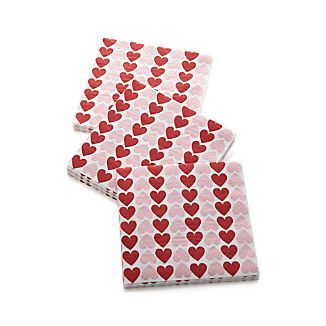 Set of 20 Valentine Heart Beverage Napkins