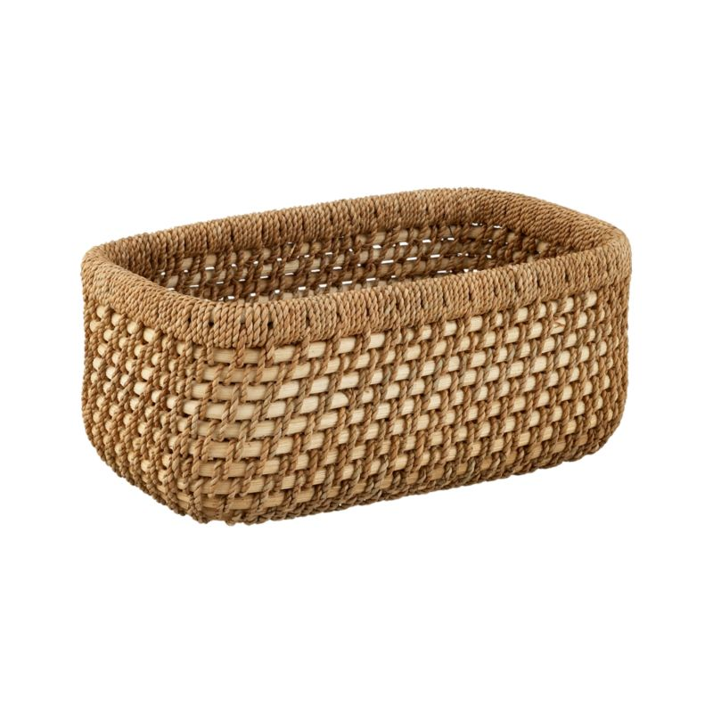 Low basket makes short work of office and household clutter in a warm, textural weave of handcrafted rattan and lampakanay fiber.<br /><br /><NEWTAG/><ul><li>Rattan and lampakanay fiber</li><li>Clear lacquer finish</li><li>Wipe with clean dry cloth</li><li>Made in The Philippines</li></ul>