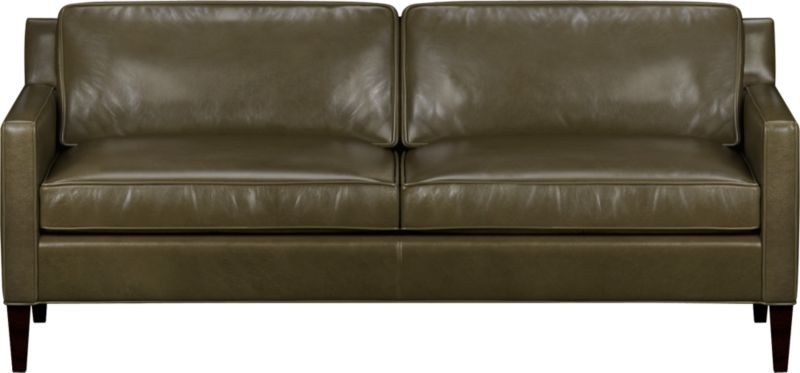 Saturated color and a naturally milled grain herald a soft authentic leather that is supple yet polished. Rich top-grain leather with self-welt detail has a refined patina that makes for relaxed seating. Mid-century lines feature a low extended back and slim track arms that box in back and seat cushions.<br /><br />After you place your order, we will send a leather swatch via next day air for your final approval. We will contact you to verify both your receipt and approval of the fabric swatch before finalizing your order.<br /><br /><NEWTAG/><ul><li>Eco-friendly construction</li><li>Certified sustainable kiln-dried hardwood frame</li><li>Top-grain, full aniline-dyed leather with self-welt detail</li><li>Seat cushions are soy-based polyfoam with feather-down blend encased in downproof ticking</li><li>Back cushions are soy-based polyfoam with fiber encased in downproof ticking</li><li>Sinuous wire spring suspension</li><li>Hardwood legs with mocha finish</li><li>Benchmade</li><li>See additional frame options below</li></ul>