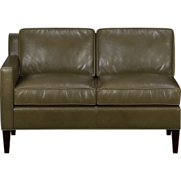 Vaughn Leather Left Arm Sectional Loveseat