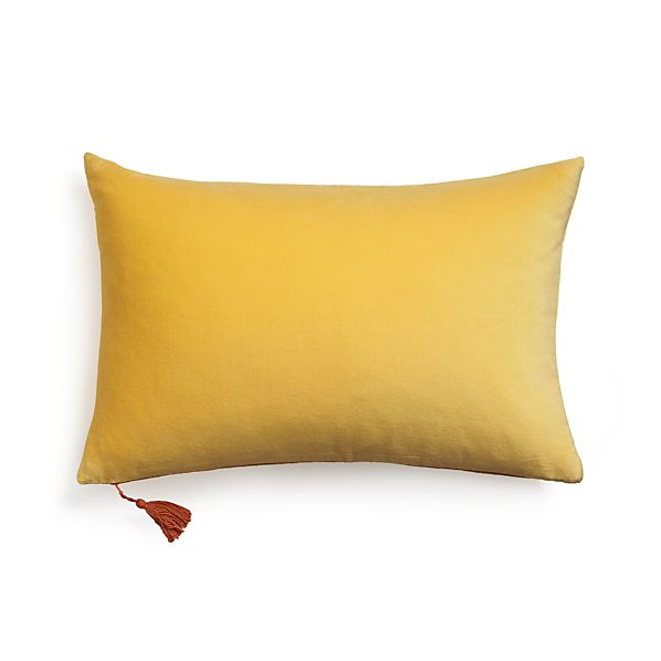 "Velvet Yellow 24""x16"" Pillow with Feather-Down Insert"
